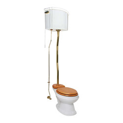 Renovators Supply - Toilets White Vitreous China High Tank Corner Toilet Z-pipe - Corner High Tank Toilets Z-pipe: Our stylish corner high tank round toilet will lend your lavatory the charm & ambiance of the Victorian age. We've updated the materials and components with 21st century technology. All tanks are a water-saving 1.6 gallons per flush. Ready to install with all mounting parts, includes ceramic tank, supply line, angle stop, mounting hardware and grade A vitreous elongated bowl. Toilet seat not included. Adjustable overall height from 63 in. to 78 in. and 12 inch rough-in.