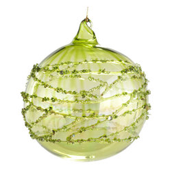 Shoreline Glass Ornaments - Green - Decorate your tree with a set of these delicate, handmade, glass, beaded ornaments to add some movement. With the artful waves and traditional Christmas color, you can't go wrong!