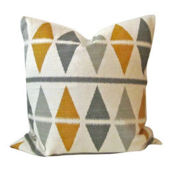 "Argyle Ikat Triangle Pillow Cover - Heavy Knit Geometric - Throw pillow cover, fits one 18"" x 18"" throw pillow."