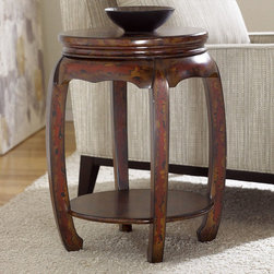 """Hammary - Hidden Treasures Round Stool - Hammary's Hidden Treasures collection is a fine assortment of unique accent pieces inspired by some of the greatest designs the world over. Each selection is rich in Old World icons and traditions. Every piece in this collection is crafted with the upmost attention to fine details. Each item is a work of art from brass nailhead trim and exquisite hand-painting to elegant shaping and decorative trim. Wide varieties of materials are used to create a perfect look and fine quality which includes exotic woods, leather, and stone to raffia and glass. The wide variety of finishes, hardware, beautiful carvings and other final touches offer unmatched versatility for any room in your home. Hidden Treasures features cocktail tables, occasional and accent pieces, trunks, chests, consoles, wine racks, desks, entertainment units and interesting storage pieces. Place one in a comfortable reading nook. . . in the family room for flair and variety. . . in the foyer for a welcome look. . . in a bedroom for a cozy style. . . or in the office for function and versatility. The pieces in this collection mix beautifully with any decorating style and will easily become the focal point in any setting.; Hidden Treasures Collection; Finish:; Oriental Shaped Barrel Design; Hand Painted Rustic with Red Accents; Poplar Solids and Birch Veneers; 1 Fixed Shelf; Weight: 28 lbs.; Dimensions: 19. 5""""W x 19. 5""""D x 24""""H"""