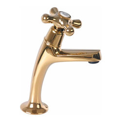 Renovators Supply - Faucets Brass Single Tap Faucet Pairr Hot & Cold 7'' H | 13876 - Faucet Taps: These solid PVD brass sink taps feature long-lasting ceramic washerless valves. The brass spouts have cross handles one labeled Hot and the other Cold. Pull out plug not included, we suggest item 98915 or 98916. Measures 7 inch high x 4 3/8 inch projection x 3 3/4 inch from spout to counter.