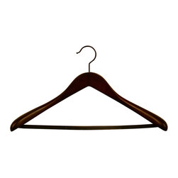 "Proman Products - Proman Products Taurus Pontoon Suit Hanger with PVC Tube Bar in Mahogany - Taurus deluxe 19.5"" L contour suit hanger with PVC tube/Bar in mahogany, black hardware, 12Pcs/Case"