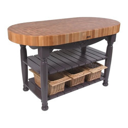 John Boos - Work Table in Eggplant - Includes 3 wicker baskets and slatted shelves. Stands 36 in. High. 4 in. Thick hard maple top. Eggplant finish