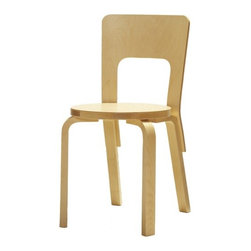 """Artek - Seating Kid's 66 Side Chair - Features: -Seating collection.-Collection: Seating.-Distressed: No.-Product Type: Chair.-Hardware Finish: Stainless steel.-Powder Coated Finish: No.-Gloss Finish: No.-Frame Material: Birch.-Hardware Material: Stainless steel screws.-Solid Wood Construction: No.-Number of Items Included: Chair only.-Non-Toxic: Yes.-Scratch Resistant: No.-Stain Resistant : No.-Mildew Resistant: Yes.-Rot Resistant: Yes.-Insect Resistant: Yes.-Arms Included: No.-Upholstered Seat: No.-Upholstered Back: No.-Rocker: No.-Swivel: No.-Glider: No.-Reclining: No.-Footrest Included: No.-Stackable: No.-Foldable: No.-Inflatable: No.-Legs Included: Yes -Number of Legs: 4.-Leg Material: Birch.-Protective Floor Glides: No..-Casters: No.-Cupholder: No.-Skirted: No.-Ottoman Included: No.-Adjustable Height: No.-Ergonomic Design: No.-Outdoor Use: No.-Seating Capacity: 1.-Weight Capacity: 330 lbs.-Swatch Available: Yes.-Commercial Use: Yes.-Recycled Content: No.-Eco-Friendly: No.-Product Care: Wipe clean with a damp cloth (water is best)..-Convertible: No.Specifications: -FSC Certified: No.-CPSIA or CPSC Compliant: No.-CARB Compliant: No.-Green Guard Certified: No.Dimensions: -Overall Product Weight: 11.88 lbs.-Overall Height - Top to Bottom: 30.7"""".-Overall Width - Side to Side: 15.4"""".-Overall Depth - Front to Back: 16.5"""".-Seat Height: 17.3"""".-Seat Width - Side to Side: 15.4"""".-Seat Depth - Front to Back: 15.4"""".-Legs: -Leg Height: 16"""".-Leg Width: 1.75"""".-Leg Depth: 1""""..Assembly: -Assembly Required: Yes.-Tools Needed: Screw driver or drill.-Additional Parts Required: No.Warranty: -Product Warranty: Artek USA Inc. warrants its products to be free from defects in materials and workmanship for a period of 2 years from date of delivery.."""