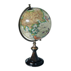 """Mercator 1541 Classic Stand Globe - The mercator 1541 classic stand globe measures 13.5 x 24"""". A classic French globe stand in a rich and perfect match of ebonized wood and bronze. Solid and still fragile, elegant and imposingly present. Beauty is in the eye of the beholder..."""