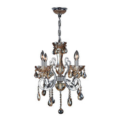 """Worldwide Lighting - Kronos 4-Light Chrome Finish and Amber Crystal Chandelier 20"""" D x 24"""" H Medium - This stunning 4-light crystal chandelier only uses the best quality material and workmanship ensuring a beautiful heirloom quality piece. Featuring a radiant chrome finish and finely cut premium grade amber colored crystals with a lead content of 30%, this elegant chandelier will give any room sparkle and glamour."""