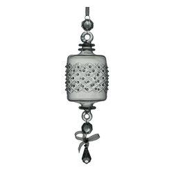 Barrel Ornament/Raised Dots - Mouth blown Barrel Ornament Raised Dots