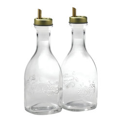 Bormioli Rocco Quattro Stagioni 2-Piece Oil Bottles With Spouts - These beautiful glass bottles for storing olive oil and balsamic vinaigrette on the countertop allow for quick and efficient cooking without forgoing the chic style you originally intended.