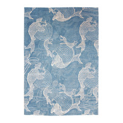 Swirling Fish Design RUg - This rug is based on an Arts & Crafts era fabric.  It is hand-woven in Nepal to our specifications.  It is available in several standard sizes and is can be woven to custom sizes.
