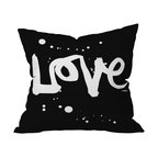 DENY Designs - Kal Barteski Love Black Throw Pillow, 20x20x6 - Throw — and show — some love with this pillow. In graphic black and white, it makes a bold and beautiful statement on your sofa, bed or bench. It's printed on woven polyester front and back, and includes a zipper closure and insert.