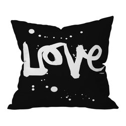 DENY Designs - Kal Barteski 'Love' Black Throw Pillow - Throw — and show — some love with this pillow. In graphic black and white, it makes a bold and beautiful statement on your sofa, bed or bench. It's printed on woven polyester front and back, and includes a zipper closure and insert.