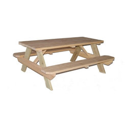Garden Treasures Clear Southern Yellow Pine Rectangle Picnic Table - A picnic lunch belongs on a good old-fashioned picnic table. Now scoot over and let me in.