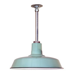 Barn Light Electric Co. - Benjamin® Sky Chief Porcelain Stem Mount Light - The Benjamin® Sky Chief is based on original vintage barn light designs. Constructed of steel with a porcelain enamel finish, the 16″ Benjamin® Sky Chief has been stem mounted for added durability within garages, porches, or warehouses. Its high quality, porcelain enamel finish will resist the wear and tear of years of hard use, making these lights perfect for both residential and commercial purposes!