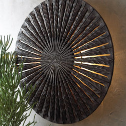 """""""Clifton"""" Carved Wood Sconce - The """"Clifton"""" Carved Wood Sconce is as unique and bold as it is beautiful.  This large wall sconce is handcrafted of carved wood and iron with a pickled walnut finish.36 Dia. x 3.5""""D."""