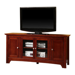 Walker Edison - Walker Edison 52 Inch Solid Wood TV Stand with 4 Doors in Walnut Brown - Walker Edison - TV Stands - W52C4DOWB - Elegance and function combine to give this contemporary solid wood TV console a striking appearance. The design gives a stylish modern look crafted with solid Asian hardwood. Console will accommodate most flat-screen TVs up to 55 in. Adjustable shelving allows for a wide range of A/V components.