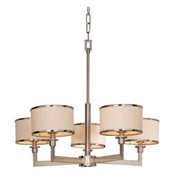 Maxim Lighting - Maxim Lighting 12055WTSN Nexus Satin Nickel 5 Light Chandelier - 5 Bulbs, Bulb Type: 60 Watt Incandescent