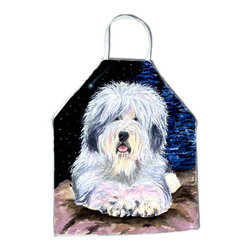 Caroline's Treasures - Starry Night Old English Sheepdog Apron SS8443APRON - Apron, Bib Style, 27 in H x 31 in W; 100 percent  Ultra Spun Poly, White, braided nylon tie straps, sewn cloth neckband. These bib style aprons are not just for cooking - they are also great for cleaning, gardening, art projects, and other activities, too!