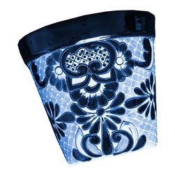Guava Home - Talavera Outdoor or Indoor Wall Sconce Planter, White and Blue - This is a beautiful Talavera style planter perfect for your home.