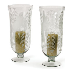 Go Home - Glass Aviary Hurricanes - Glass Aviary Hurricanes add intrigue to your next candlelit dinner with this pair of fabulously sculpted hurricane/candle holders. This glass holders is the perfect medium for holding candles nicely.Made from glass and has etched glass finish.