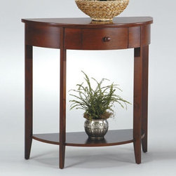OSP Designs - Madison Half Moon Console Table - This half moon console table beautifully accents any hall with its simplicity and versatility. Made in Walnut finish, this set will perfectly fit in any decor. The drawer will also add further storage. You will be pleased by the simple beauty of this console table. Features: -Crafted of solid wood.-Solid wood drawer pulls.-Multiple bolts to ensure strong legs.-Half moon shape.-Wood veneer Walnut finish.-Collection: Madison.-Distressed: No.Specifications: -1 drawer.Dimensions: -Overall Product Weight: 30 lbs.