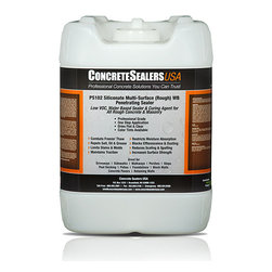 Concrete Sealers USA - PS102 Siliconate Multi-Surface (Rough) WB Penetrating Sealer (5 gal.) - Zero VOC, Water Based Sealer & Curing Agent for All Rough Concrete & Masonry