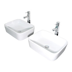 "TCS Home Supplies - Rectangular White Porcelain Ceramic Countertop Bathroom Vessel Sink - Rectangular Shaped Countertop Bathroom Vessel Sink. Above Countertop-Mount Installation. Compatible with Any Vessel Filler and Wall-Mount Faucets. Porcelain Ceramic. Exterior Dimensions 19"" x 14-1/2"" Depth 5-1/4""."