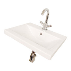 Althea - Rectangular White Ceramic Wall Mounted or Self Rimming Bathroom Sink, One Hole - Rectangular white ceramic self rimming or wall mounted sink. Sink comes with overflow and one pre drilled hole.