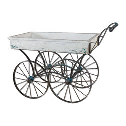 Uttermost - Generosa Weathered Flower Cart - Forged Iron Wheel Base And Handle With Traces Of Turquoise Broken Away To Weathered Black Undertones And An Antiqued White Wooden Cart Box.