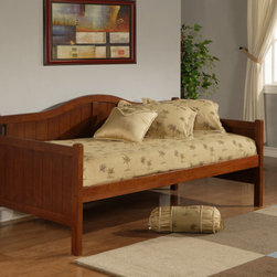 Hillsdale Furniture - Hillsdale Staci Daybed in Cherry - Featuring a traditional cottage beadboard design and a classic arched silhouette  boasts three classic and versatile finishes: black  cherry  and white. Available with or without the trundle feature  this daybed is composed of solid wood and climate controlled wood composites. Minor assembly required.