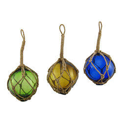 Zeckos - Set of 3 Nautical Reproduction Glass Buoy Hanging Ornaments - This set of glass floats adds a wonderful accent to rooms and bars with a nautical theme. Each 4 inch diameter float is wrapped with twisted rope and has a 4 1/2 inch long hanger. They look great displayed on porches or patios or in tiki bars, seafood restaurants and marinas.