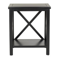 Safavieh - Candence Cross Back End Table - Black - Add architectural interest to your room with the Candace end table��_s X detailing, a favorite motif used by designers as mullions in closets, cabinets and doors. Crafted of poplar wood with painted black finish, this versatile clean-lined table complements transitional and traditional interiors. Minor assembly required.