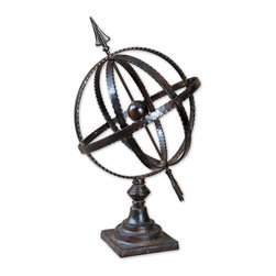Joshua Marshal - Antique Brown Diez Metal Globe On Stand - Antique Brown Diez Metal Globe On Stand