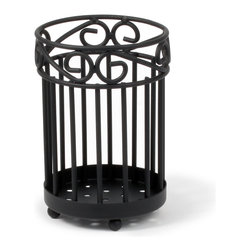Spectrum Diversified Designs - Scroll Utensil Holder - Black - Organize your kitchen utensils in a jiff with our Scroll Utensil Holder. Designed to hold multiple sets of spoons, whisks, spatulas and other kitchen utensils. Made of sturdy steel with a black finish.