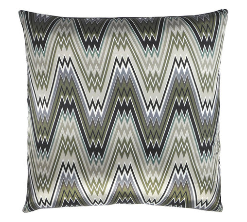 "NECTARmodern - The Big Zigbowski zig zag chevron throw pillow 20"" x 20"" - Somewhere between predictable and crazy. Flamestitch zig-zag pattern in greens, grays, and black. Main material is a smooth satin with light sheen. Heavier linen back provides weight. Designer quality cover with overstuffed feather/down insert."