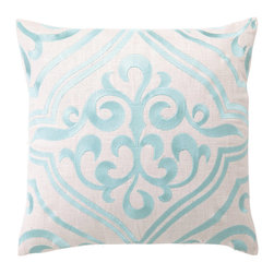 """DL Rhein - DL Rhein Tile Robins Egg Embroidered Linen Pillow - With gorgeous, scrolling strokes, the Tile pillow lends a classic touch to modern home decor. This handcrafted pillow by DL Rhein is inspired by artistic ceramic tiles and embroidered in vibrant robin's egg blue. 16"""" x 16""""; Linen pillow with embroidered detail; Feather down insert included; Dry clean only"""