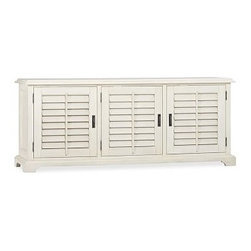 """Holstead Shutter Large TV Media Console, Almond White - Louvered shutters are a fixture throughout the American South, used to keep houses cool in summer, warm in winter. We adapted their design for our Holstead Large Console, which protects components from dust while still allowing the use of remote controls. 73"""" wide x 20"""" deep x 30"""" high Expertly crafted of kiln-dried mahogany. Features two pullout drawers and six adjustable shelves. Finished by hand in our exclusive heritage espresso stain. Wood swatches, below, are available for $25 each. We will provide a merchandise refund for wood swatches if they're returned within 30 days. View our {{link path='pages/popups/fb-media.html' class='popup' width='480' height='300'}}Furniture Brochure{{/link}}."""