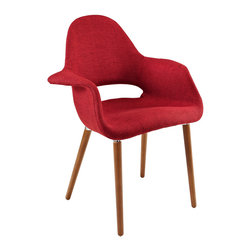 East End Imports - Taupe Dining Armchair in Red - Repose in a chair that constantly forms and reforms new definitions of reality. Let tensions fade away as you embrace the ability to initiate and innovate. Four wooden legs support the diagonal look of the Taupe Accent Chair where fresh ideas are spun.