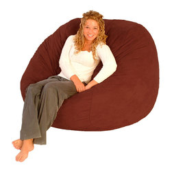Comfort Research - FufSack Cinnabar Red Microfiber Bean Bag Chair - Add a playful edge into your space with this chic red bean bag chair. Its microplush cinnamon red cover offers velvety softness and warmth,while its durable foam fillings allow better body weight distribution for a more restful sitting position.