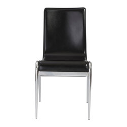 Euro Style - Euro Style Grace Side Chair Set of 4 03181 - It's as if the leather seat and back are suspended from the knee area'.because, well, they are! It's not only a great look but the slight amount of spring in the seat makes it remarkably comfy.