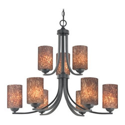 Design Classics Lighting - Modern Chandelier with Brown Art Glass in Matte Black Finish - 586-07 GL1016C - Contemporary / modern matte black 9-light chandelier. Takes (9) 100-watt incandescent A19 bulb(s). Bulb(s) sold separately. UL listed. Dry location rated.