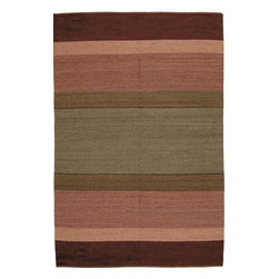 Southwestern Flatwoven Carpet - A 6x9 carpet flatwoven with 100% handspun wool and vegetable dyes. One Of A Kind.