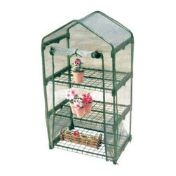 Tierra Derco 3-Tier Mini Greenhouse - Additional information: Peak height: 50 inches Sidewall height: 44 inches Tired of paying for annuals and vegetable plants every season? Save some money and start your own seeds this year! Thanks to the Tierra Derco 3-Tier Mini Greenhouse growing a garden from scratch has never been easier. This greenhouse is designed to keep your seeds snug and comfortable in the great outdoors well before the first frost. This extends your planting season and will give your garden a head-start. The greenhouse is made from a sturdy green-coated metal frame and a clear plastic canopy that keeps plants warm and stabilizes humidity for perfect seedlings. Three tiers maximize your greenhouse space which means more seedlings and more plants. The front rolls up to allow air circulation and easy access to plants. Go ahead and dream big. Acorn squash sunflowers heirloom tomatoes jalapeno peppers… the possibilities are endless. Make your botanical dreams come true this year with the Tierra Derco 3-Tier Mini Greenhouse. Assembles in 30 minutes or less. About Tierra-Derco InternationalTierra-Derco International is a wholesale importer of distinctive high-quality hard goods for the garden. Tierra International merged with Derco Horticulture's US operations to form Tierra-Derco International LLC (TDI) in 2006. They had both been founded in 1998 with the same goal of supplying an exclusive selection of garden tools decorative accessories and hard goods. Derco is especially known in the U.S. for its quality line of garden center shopping carts and plastic trunk liners. Tierra brands include DeWit Peacock Gaspo Euroclogs and Eurogarden Kids. Tierra-Derco's central U.S. headquarters is located in Jasper Ind.