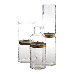 BRASS RING VASE SET - NEW - Simple, yet striking, this collection of vases is nothing short of aesthetic. Hand-blown glass allows for a hammered texture. Circled with a brass ring, which draws the eye into whatever you have showcased. Fill with flowers, your favorite curios, or even wrapped candy. Vases are water and food safe.