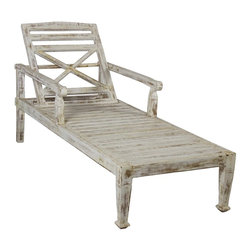 Wooden Beach Sofa - Faded White Finish - One of a kind beach sofa where you can lay down for good sun bath or read a book. It has a wooden high back with multi position adjustable incline. It is made from teak wood to last for years with minimal maintenance.