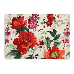 Bright Red Painterly Floral Custom Placemat Set - Is your table looking sad and lonely? Give it a boost with at set of Simple Placemats. Customizable in hundreds of fabrics, you're sure to find the perfect set for daily dining or that fancy shindig. We love it in this vibrant floral in warm red, berry & emerald on smooth sateen. modern in color, traditional in style: an energetic bouquet for any room.
