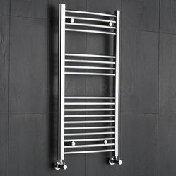 Premium Chrome Curved Heated Bathroom Towel Radiator Rail 39.5 inch x 19.75 inch