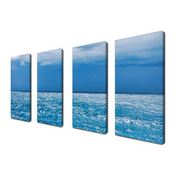 Ready2HangArt - Ready2hangart Chris Doherty 'Summer Storm' 4-piece Canvas Wall Art - The 'Summer Storm' 4-piece canvas art set depicts a crystal clear horizon of the sea and sky. This 4-piece canvas art set features a tropical theme and is gallery-wrapped canvas for a contemporary look.