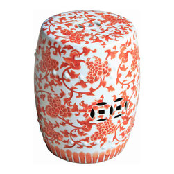Belle & June - Plum Petal Garden Stool - Give your sitting room or patio a delicate touch with this elegantly detailed porcelain stool, adorned with plum blossoms in a bright orange hue. This refreshing sculptural stool works great as a seating option, or as a stand for your favorite stylish knickknacks.