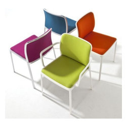 Kartell - Audrey Soft Armchair (Set of 2) by Kartell - Audacious Audrey outdoes herself with a pop of color and no visible welding. The Kartell Audrey Soft Armchair (Set of 2), the fabric version of the popular aluminum model, shows off in a wide range of bright candy colors and metal finishes. Features comfortably rounded arms and a contoured seat and back. Founded in 1949 by Giulio and Anna Castelli, Kartell has become the world leader—and innovator—in the realm of molded plastic furniture. Headquartered in Italy, Kartell works with designers worldwide to create their distinctive line of modern furniture, lighting and accessories. Dedication to discovering and employing new technologies and manufacturing methods results in a growing line of durable, stylish and cutting edge products.