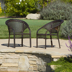 Christopher Knight Home - Christopher Knight Home Wicker Fan Back Indoor/ Outdoor Club Chairs (Set of 2) - Relax outdoors in comfort with this Wicker club chair set. These brown weather-resistant chairs with their sophisticated fan back design will add an elegant touch to your outdoor area. This set is treated with UV protection for durability.